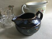 Lot 3 Vintage And Antique Creamers Pitchers - 2 Pottery Made In Japan And 1 Glass