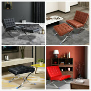 Classic Barcelo-na Style Lounge Chair/ottoman Genuine Leather Stainless Frame