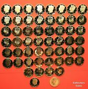 1968-2021 S 55 Coin Complete Clad Kennedy Proof Set W3 Silver Proofs1979 T1/t2