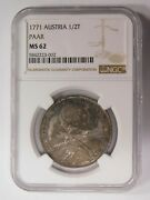 Austrian State Of Paar 1771 1/2 Convention Thaler Ngc Ms-62 700 Struck