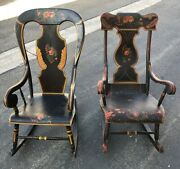 Antique Boston Rocker Rocking Chair Painted Pair His Hers