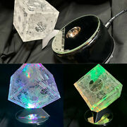 Hellraiser Puzzle Box Laser Engraved Clear Box With Rotating Light Stand