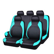 Car Pass Car Seat Cover Leather Mint Blue Full Set Universal For 40/60 50/50 Fit