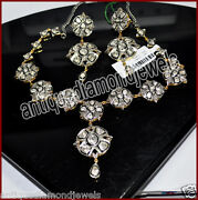 6.92ct Polki Rose Cut Diamond Antique Look 925 Silver Earring Necklace Set