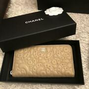 Authentic Camellia Zippy Long Wallet Gold Limited Item From Japan F/s