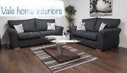 Brand New 3and2 Chicago Fabric Charcoal Sofa