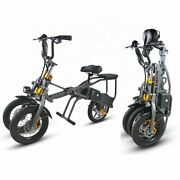 350w Two Seater Lightweight Folding 3 Wheel Electric Trike Tricycle Scooter New