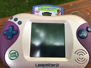 Leapfrog Leapster2 Learning Game System Pink And Purple W/ Case Plus Game Tested
