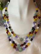"""Rare 1920's Jadeite Jade Apple Green Multi Color Beads Carved Necklace 23"""" Long"""