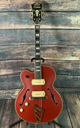 Dand039angelico Left Handed Deluxe 59 Hollow Body Electric Guitar- Matte Cherry