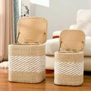 Rattan Straw Basket For Home Decor Storage Rattan Basket With Lid For Laundry