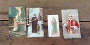 Collection Of 4 Antique And Vintage Holy Cards, St Vincent, Pope Paulus Vi