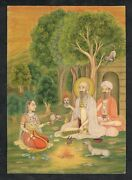 Hand Painted Mughal Miniature Painting Of Mughal Empress With Holy Man On Paper