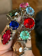 Lot 8 Vintage Sterling Silver Multigemstone Floral Rings Mexico Sarah Coventry