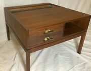 Jens Risom Design  End Table With Copper Planter And Two Drawers Brass Pulls