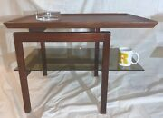 Jens Risom Design T-408 End Table With Raised Edges And Glass Shelf Restored