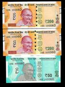 Rs 200/- And 50/- New India Banknote Triple Pair 1bb 000060 Very Unique Gem Unc