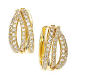 2.20ct Natural Round Diamond 14k Solid Yellow Gold Clip On Wedding Hoops Earring