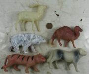 5 Vintage 1930's Celluloid Made In Japan Wild Animals Tiger Bear Camel