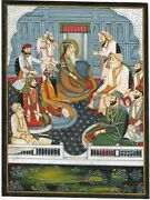 Hand-painted Sikh Miniature Art And Painting Of Maharaja Ranjit Singh In His Court