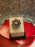 Vintage Real Diamond And Champagne Diamonds Sterling Silver Flower Ring Sz 6
