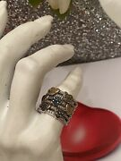 Vintage Sterling Silver 925 Blue, Pink And Yellow, Green Diamond Heart Ring Sz 6