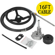 Marine Engine Turbine Rotary Steering System 16ft Ss13716 Boat Cable With Wheel