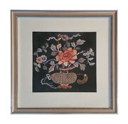 C 1900 Chinese Embroidery Black Silk Flowers And Vase, Framed