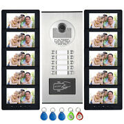 10 Units Apartment Video Intercom Door Phone System 7 Monitor For 10 Household