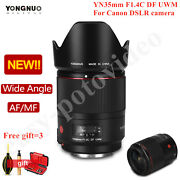Yongnuo Yn35mm F1.4c Df Uwm Wide Angle Prime Lens Auto/ Manual Focus For Canon