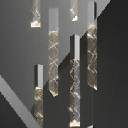 New Cube Crystal Cylinder Chandelier Lobby Stair Drops Light Island Ceiling Lamp