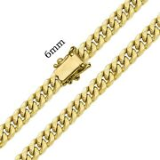 10k Yellow Gold Hollow 6mm Miami Cuban Chain Necklace 20- 30 Inch