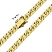 10k Authentic Hollow Yellow Gold Miami Cuban Link Chain Necklace Men 7mm 22