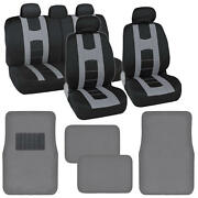 Complete Front And Rear Set Of Black Gray Car Seat Covers And Floor Mats⭐⭐⭐⭐⭐