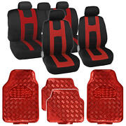 Carxs Black Red Two Tone Seat Covers And Heavy Duty Red Vinyl Floor Mats Full Set