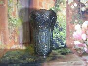 Vintage Imperial Carnival Glass Amethyst Scroll And Flowers Footed Vase 10