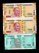 Rs 200/- And 50/- New India Banknote Triple Pair 1bb 000082 Very Unique Gem Unc