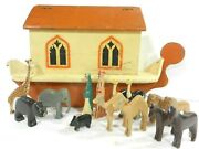 Antique Noah's Ark Hand Carved Animals C1918 Wood 14 Figures Made In England