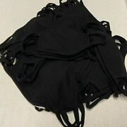 50 Pack Black Cotton Face Mask With Filter Pocket, Made In Usa