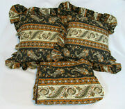 Vtg Mid Century Throw Pillows And Matching 60x80 Bedskirt Bed Skirt Paisley