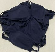 100 Pack Navy Cotton Face Mask With Filter Pocket, Made In Usa