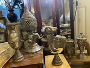 Antique 30andrsquos Collection Of Bohemian Hammered And Punch Cut Candle Stands Sconces