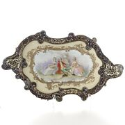 Large Sevres Style Porcelain And Champleve Tray 19th Century Bronze Mounted