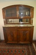 Art Nouveau/deco Marble-top Mirrored Sideboard