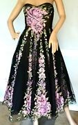 New Nwt 6,500 Marchesa Embroidered Floral Couture Cocktail Dress It 42 / Us 6