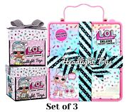 1 Lol Surprise Pink Deluxe Present Partay Doll Pet + 2 Birthday Gift Boxes New