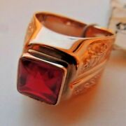 Vintage Soviet Russian 58314k Gold Unisex Ring With Ruby Size 105