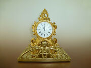Antique Gold Gilt Metal Case Swing Pendulum 8 Day Clock Chime Hourly With Stand