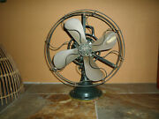Antique Ge Brass Blade Handle Fan 16 Military Green Vintage 3 Speed For Repair