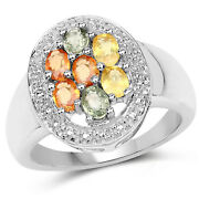 925 Sterling Silver Genuine Multi Sapphire Ring 1.54 Carat Multiple Sizes - Qt